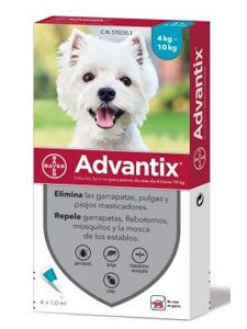 ADVANTIX 4 PIPETAS 1 ml. - De 4 a 10 Kg.